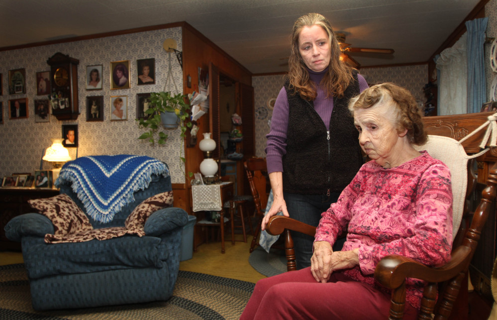 2013 Associated Press file Shelley Crosby, standing, daughter of Leona Berger, says she will continue trying to persuade the West Hill Cooperative to allow her 84-year-old mother to remain in the mobile home that's been her residence for the past 27 years.