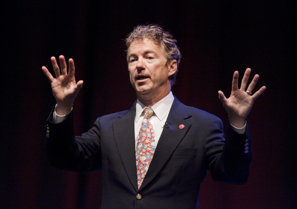 Carl Walsh/Staff Photographer Senator Rand Paul speaks during the Maine Republican Party Convention at the Cross Insurance Center in Bangor on Saturday, April 26, 2014.