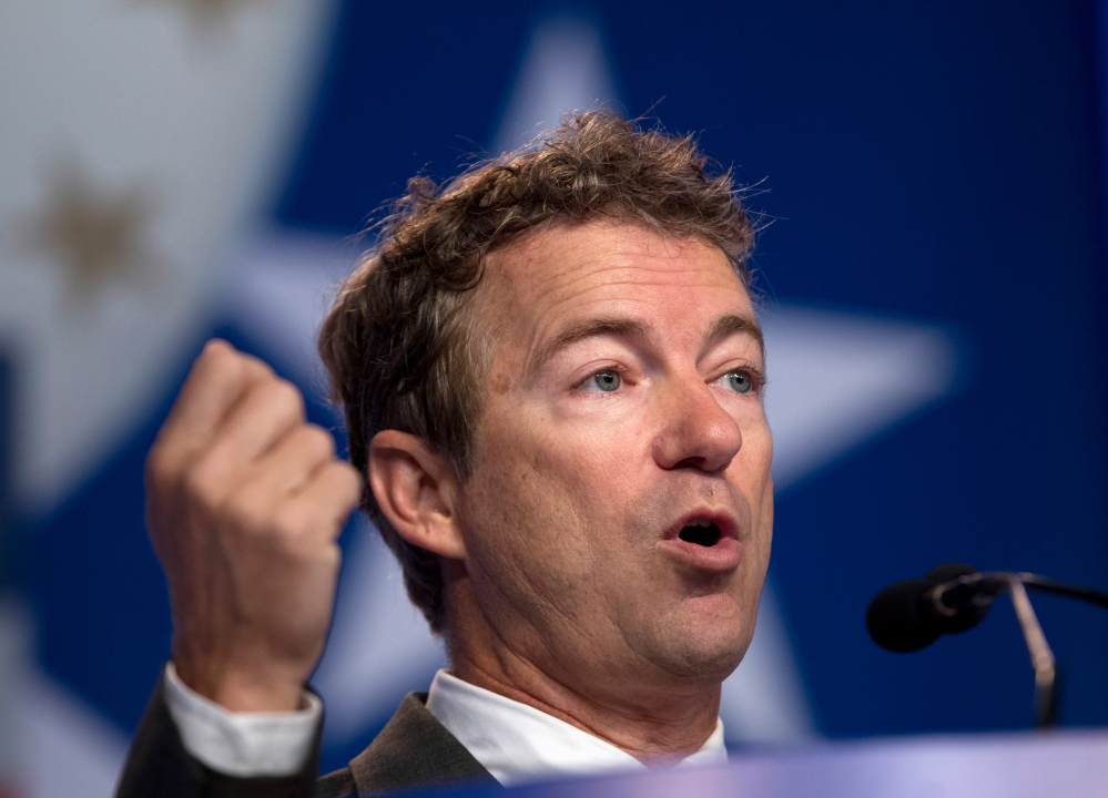 The Associated Press File Photo/Jose Luis Magana In this October 2013 file photo, Sen. Rand Paul R-Ky. speaks during the Values Voter Summit, held by the Family Research Council Action in Washington. Paul is weighing a dual run for the White House and U.S. Senate in 2016.