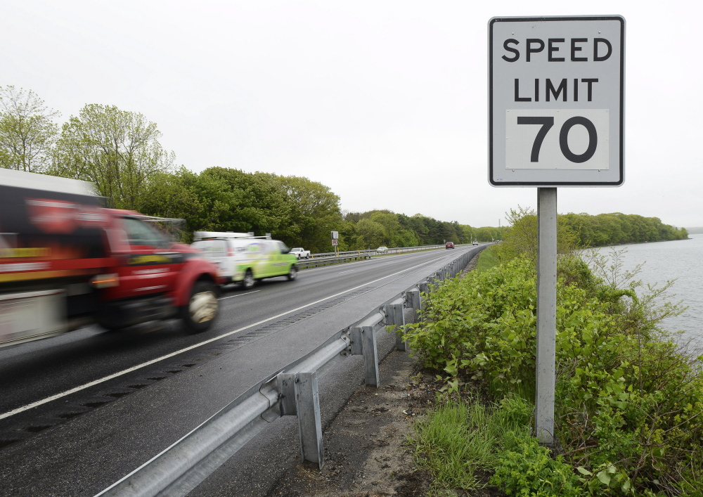 PORTLAND, ME - MAY 27: New 70 MPH sign along I-295 after Tukey's Bridge in Portland in the northbound lane. (Photo by John Patriquin/Staff Photographer)