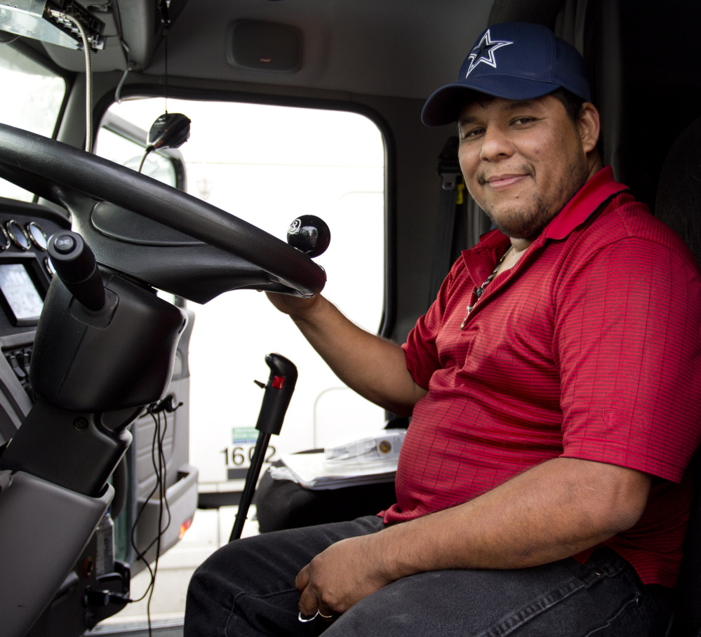 Trucker Cesar Solis, at the Maine Turnpike service plaza in Kennebunk on Thursday, says that when he gets tired, he just pulls over and rests. Gabe Souza/Staff Photographer