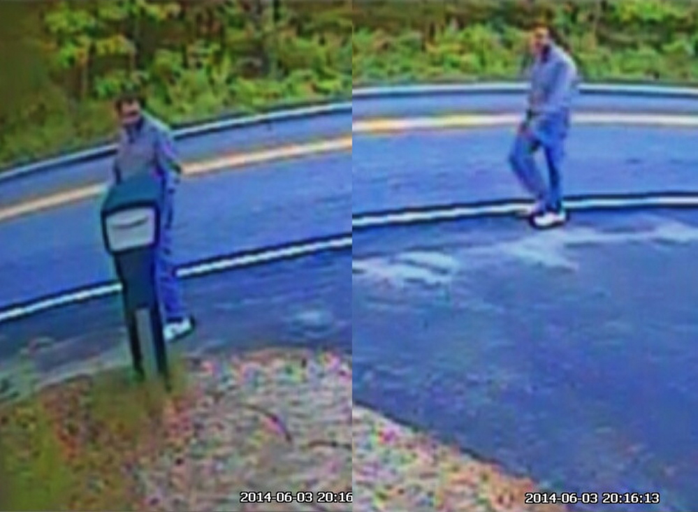 """Courtesy Kennebunk Police Department These combined images show a man who might have delivered notes to homes in Kennebunk and signed them """"pervert."""""""