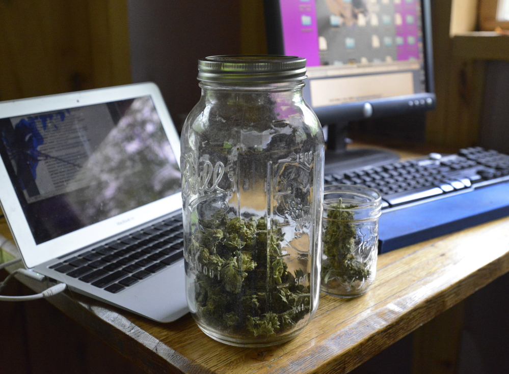 At many of the stops on his promotional tour, Barry will pass around a Mason jar of pot so people can see what a Maine-grown bud looks and smells like. John Patriquin/Staff Photographer