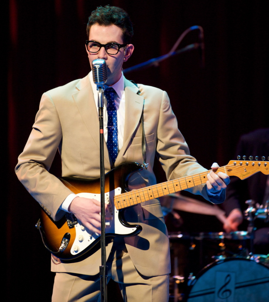 """Andy Christopher portrays Buddy Holly in the Maine State Music Theatre production of """"Buddy."""""""