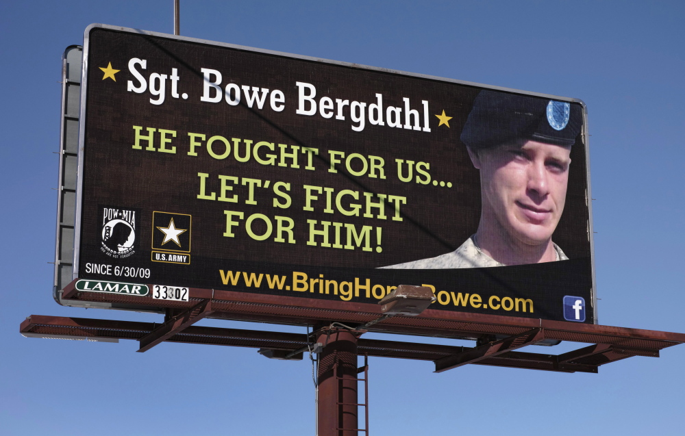 A billboard near Spokane, Wash., seen in February, calls for the release of U.S. Army Sergeant Bowe Bergdahl. His release, however, has become a public relations imbroglio for the White House. Reuters