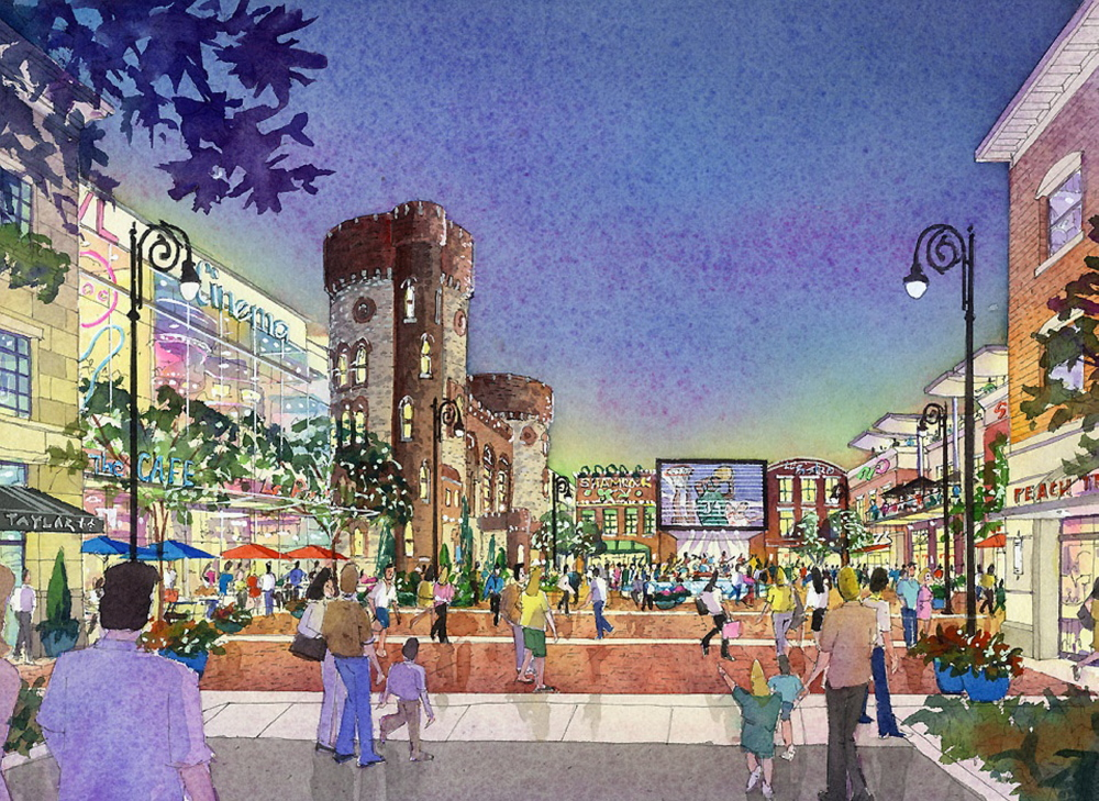 This artist rendering provided by MGM Resorts International shows part of a proposed casino complex in Springfield, Mass. The Associated Press/MGM Resorts International