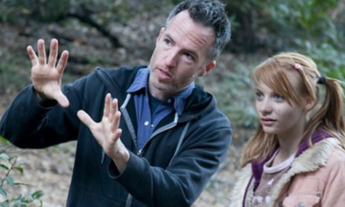 """Kyle Rankin on the set of the 2012 Syfy network series """"Nuclear Family"""" with actress Pauline Cohn.  Courtesy photo"""