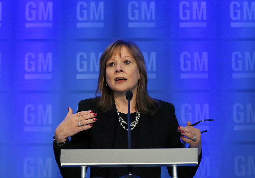 General Motors CEO Mary Barra speaks during a news conference prior to the company's annual shareholder meeting in Detroit, Tuesday.