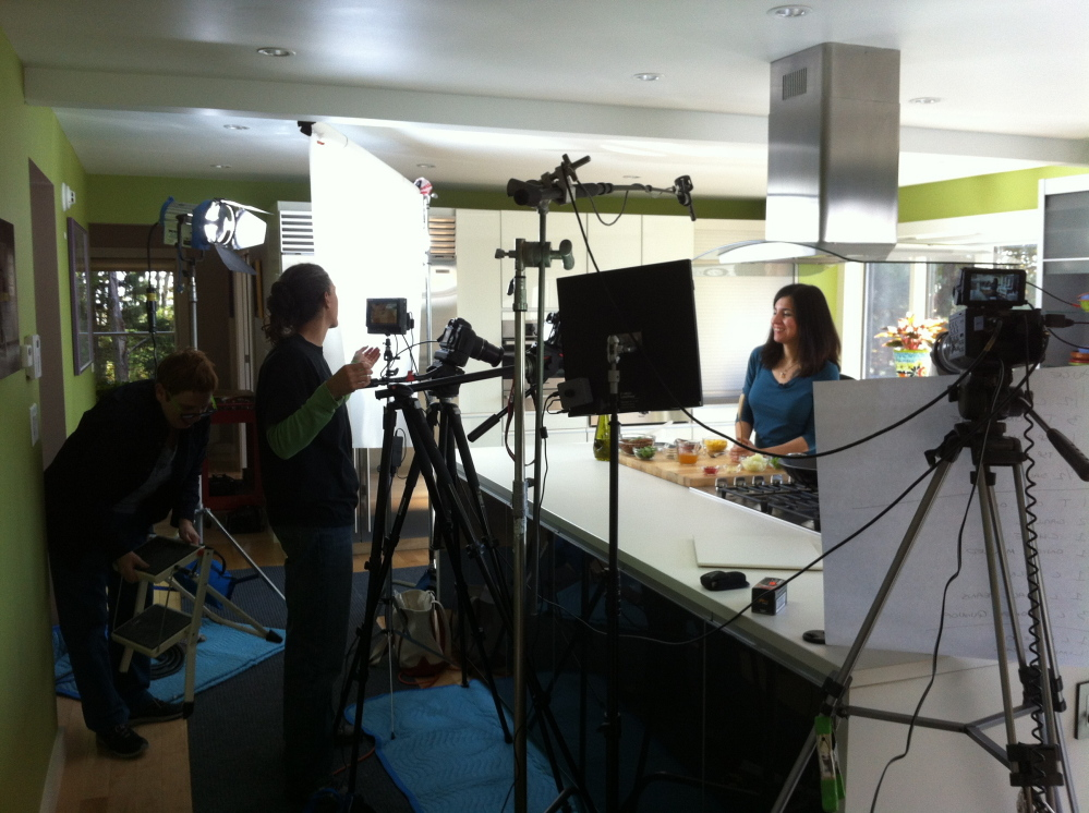 "Chef Terry Hope Romero smiles for the camera while filming season two of ""Vegan Mashup."" Courtesy of Delicious TV"