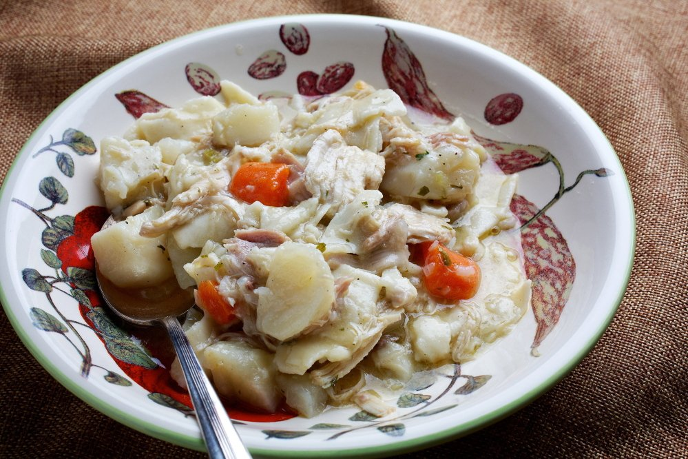 Pennsylvania Dutch potpie starts with a rich stock made with the carcass and deglazed pan from Sunday's roast chicken. The Washington Post