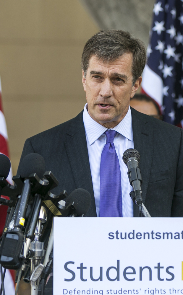 David Welch, founder of Students Matter, speaks in Los Angeles on Tuesday. The Associated Press