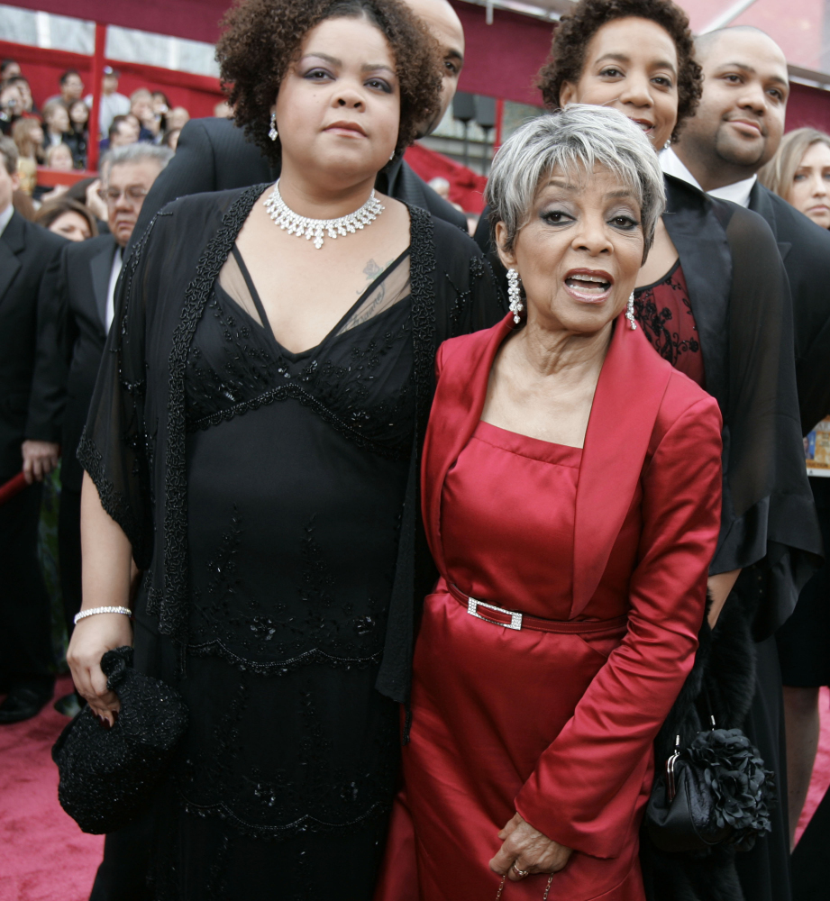 "Ruby Dee, right, nominated for an Oscar for best actress in a supporting role for her work in ""American Gangster,"" arrives for the 80th Academy Awards in Los Angeles in this 2008 photo."
