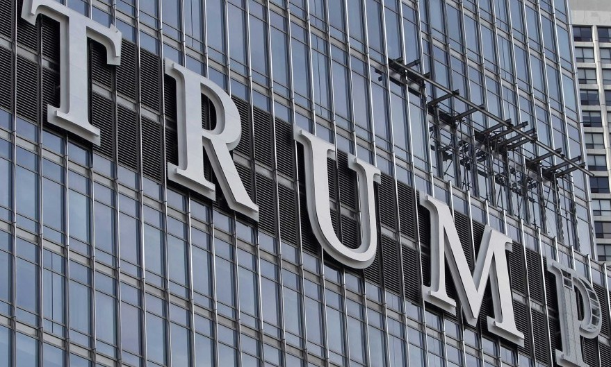 These 20-foot-tall letters adorn Donald Trump's new skyscraper in Chicago.