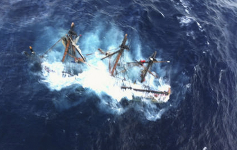 The HMS Bounty is shown submerged in the Atlantic Ocean during Hurricane Sandy some 90 miles southeast of Cape Hatteras, N.C., in this Coast Guard photo taken on Oct. 29, 2012.