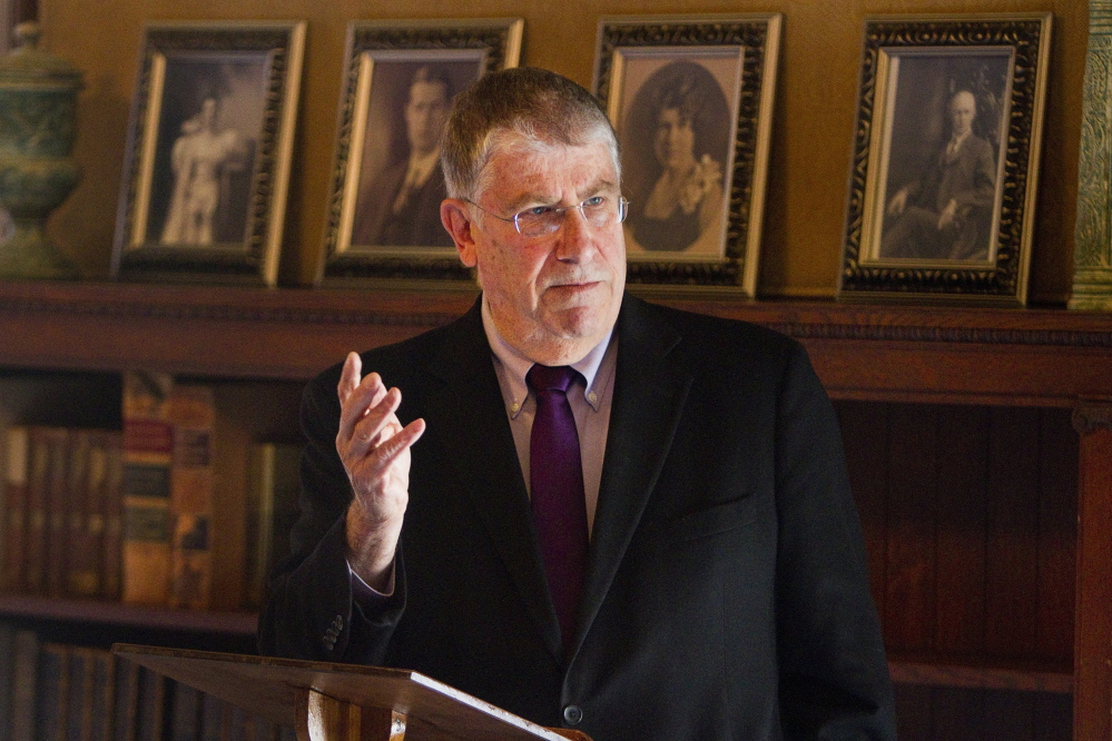 Maine gubernatorial candidate Eliot Cutler speaks to members of the Women's Legislative Council of Maine at the Governor Hill Mansion in Augusta on Thursday April 17, 2014.