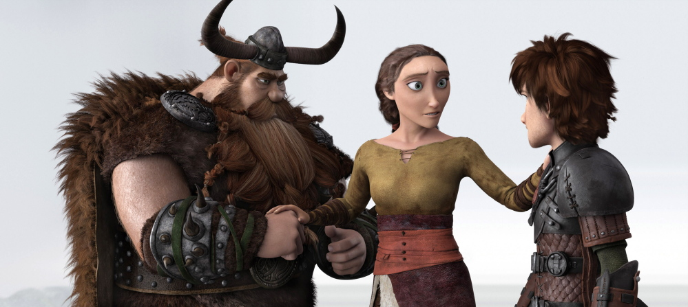 "This image released by DreamWorks Animation shows characters, from left, Stoick, voiced by Gerard Butler, Valka, voiced by Cate Blanchett and Hiccup, voiced by Jay Baruchel, in a scene from ""How To Train Your Dragon 2."""