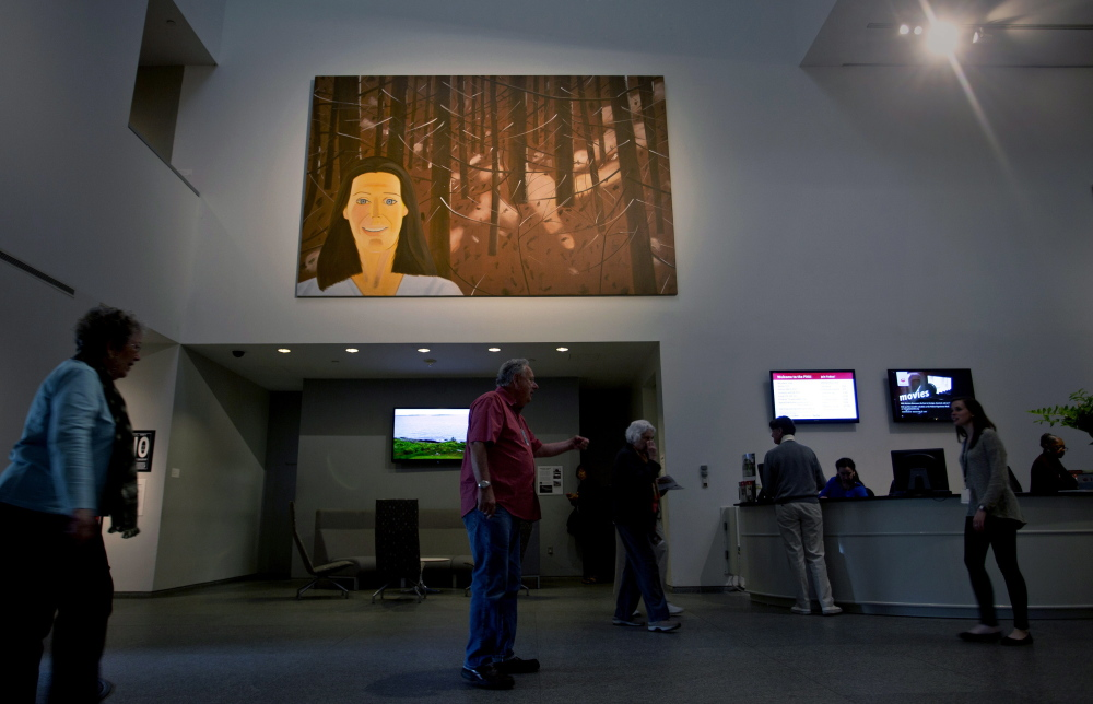 One of the two Alex Katz paintings that the Portland Museum of Art hung in its Great Hall earlier this month.