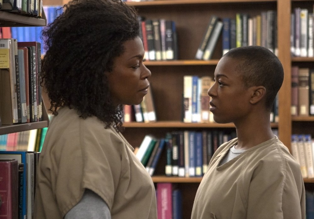 Lorraine Toussaint, left, as Vee Parker and Samira Wiley as Poussey Washington.