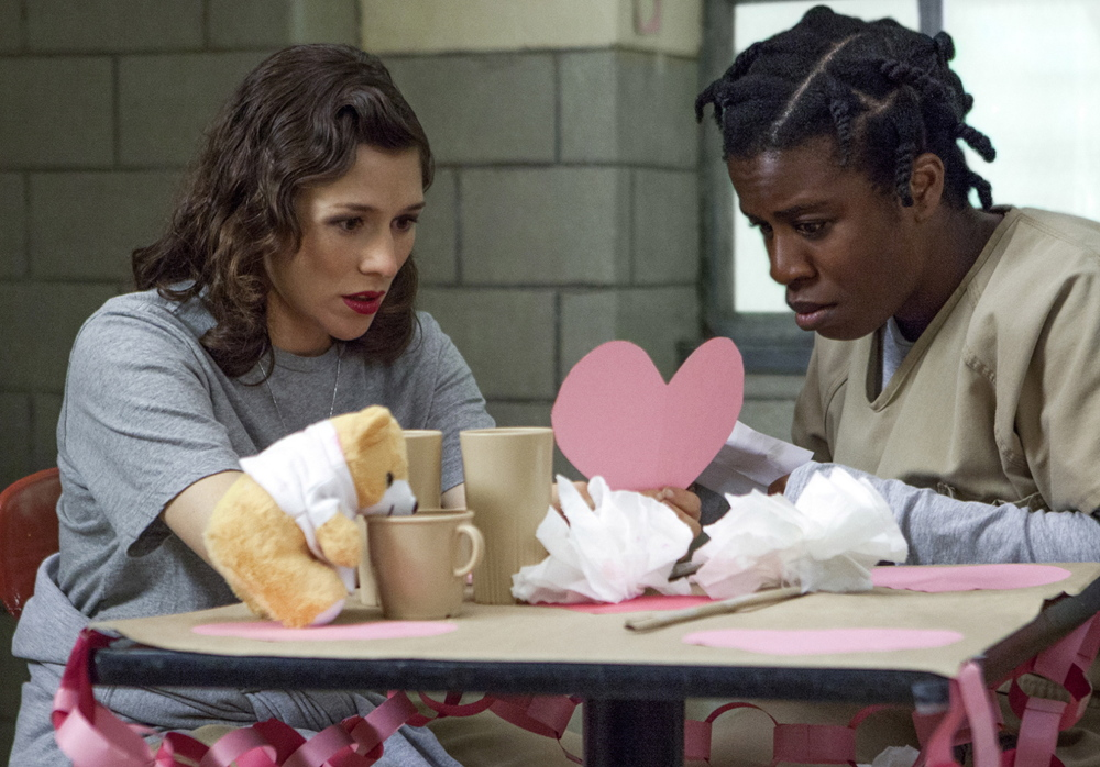 "Yael Stone, left, as Lorna Morello and Uzo Aduba as Suzanne ""Crazy Eyes"" Warren."