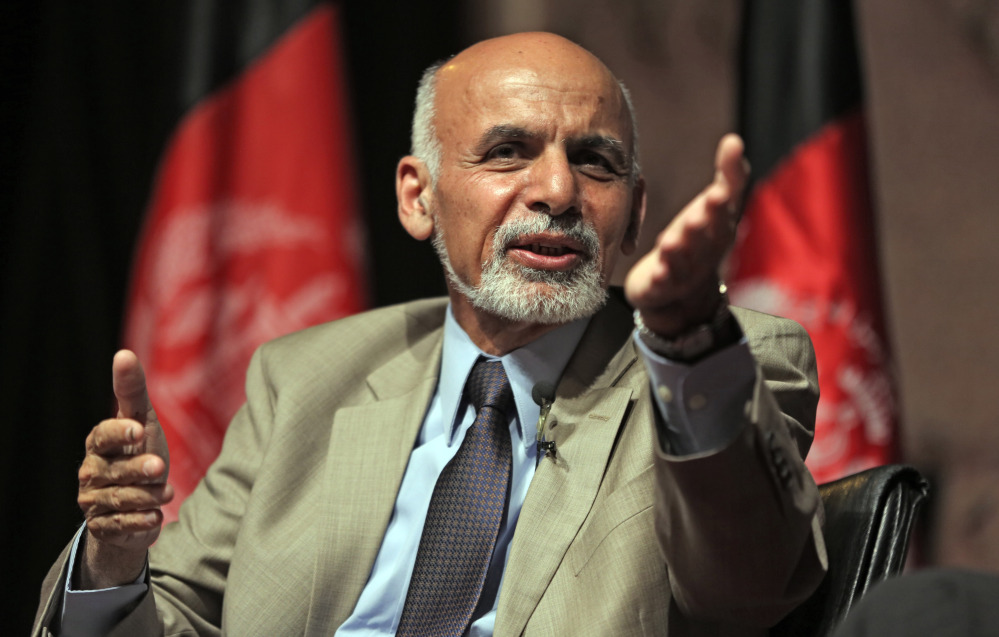 Afghanistan presidential candidate Ashraf Ghani Ahmadzai speaks during his last campaign rally in Kabul, Afghanistan, on June 11. The Associated Press