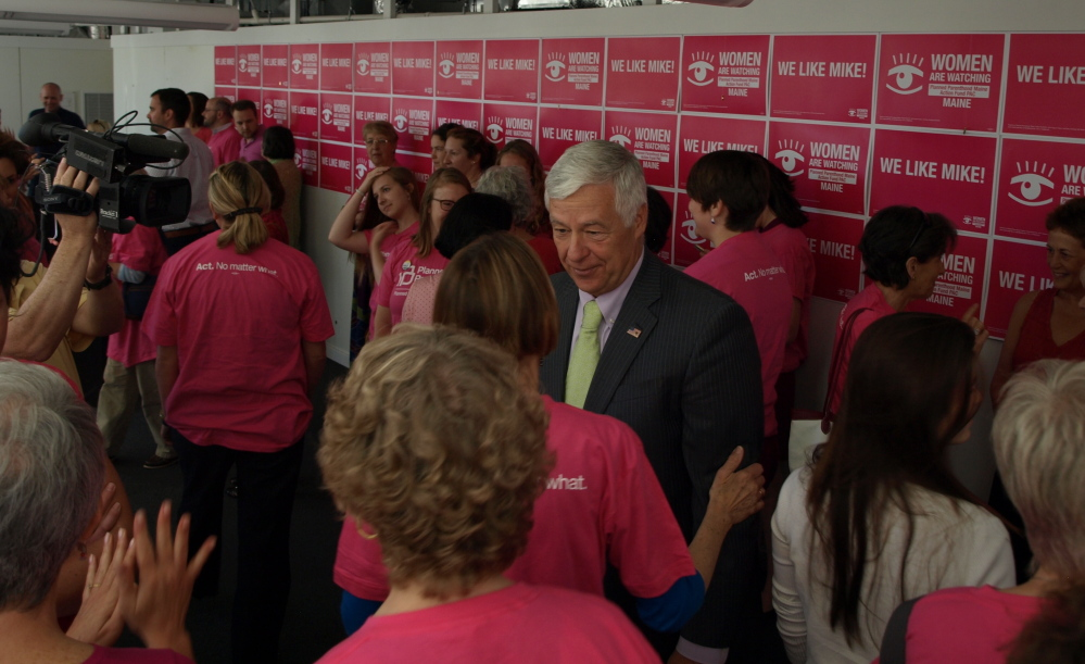 U.S. Rep. Mike Michaud speaks to supporters at a news conference at which Planned Parenthood announced its support for his candidacy for governor Monday in Portland.