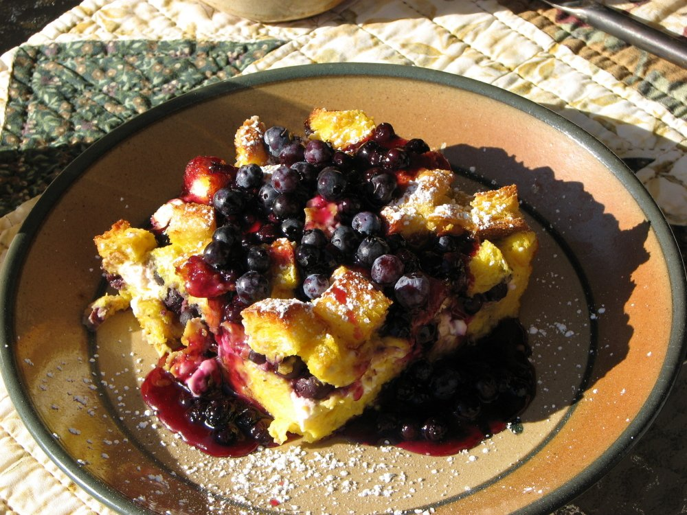 Blueberry stuffed French toast is one of the vegetarian breakfasts served at Three Pines Bed and Breakfast near Acadia National park.