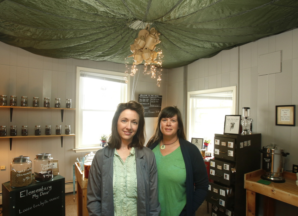 Larrabee, left, and Burrin opened their tea nook Tempest in a Teapot in Stonington a few months ago. The two women have been creating loose teas, blending imported teas with local ingredients like blueberries, peaches and rose hips. They are among a number of Maine entrepreneurs looking to capitalize on a growing national interest in tea.