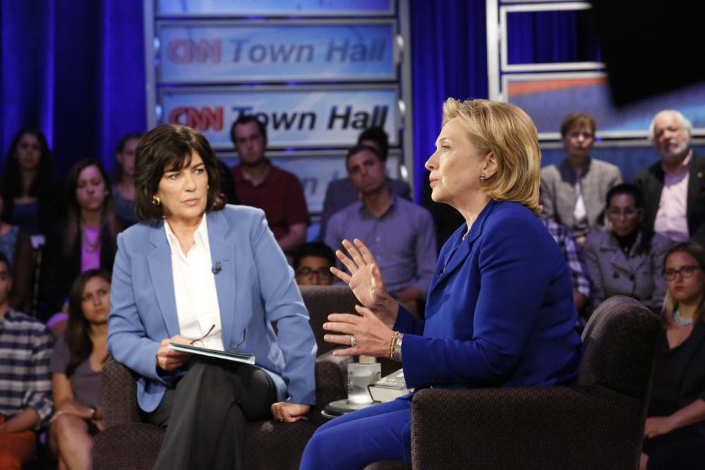"Hillary Rodham Clinton speaks during CNN's Town Hall interview on Tuesday, June 17, 2014, in New York. The former secretary of state expressed caution Tuesday about the United States working with Iran to combat fast-moving Islamic insurgents in Iraq, saying the U.S. needs to understand ""what we're getting ourselves into."""