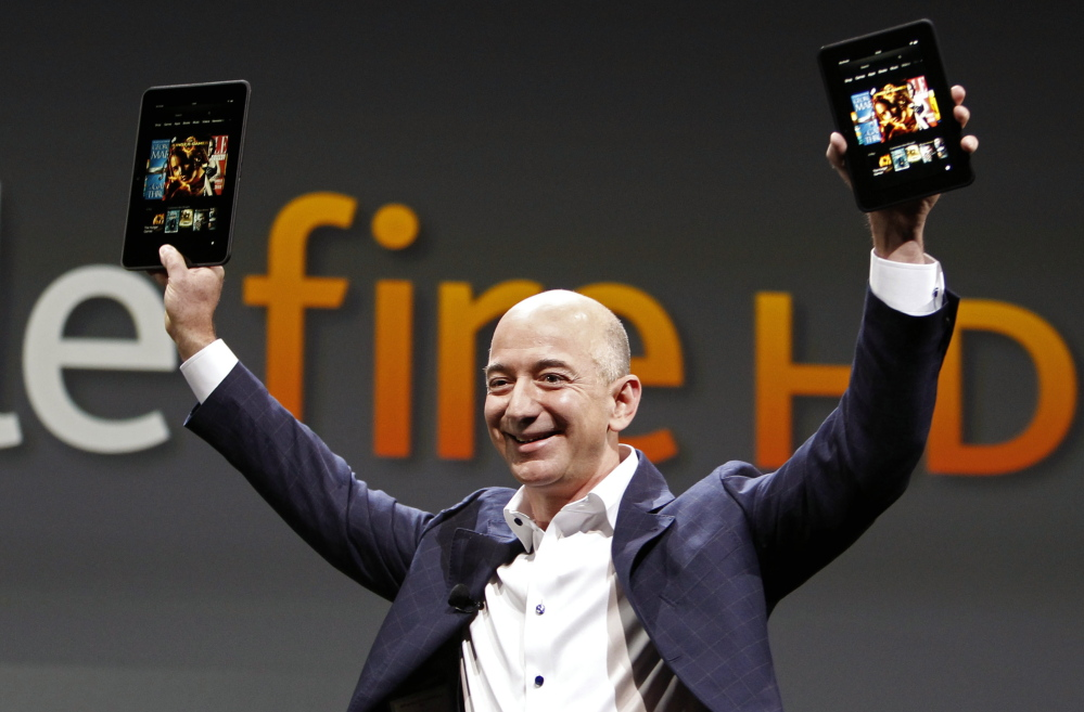 Jeff Bezos, CEO and founder of Amazon, introduces the Amazon Kindle Fire at Santa Monica, Calif. on Sept. 6, 2012. Amazon is hosting a launch event on Wednesday in Seattle.
