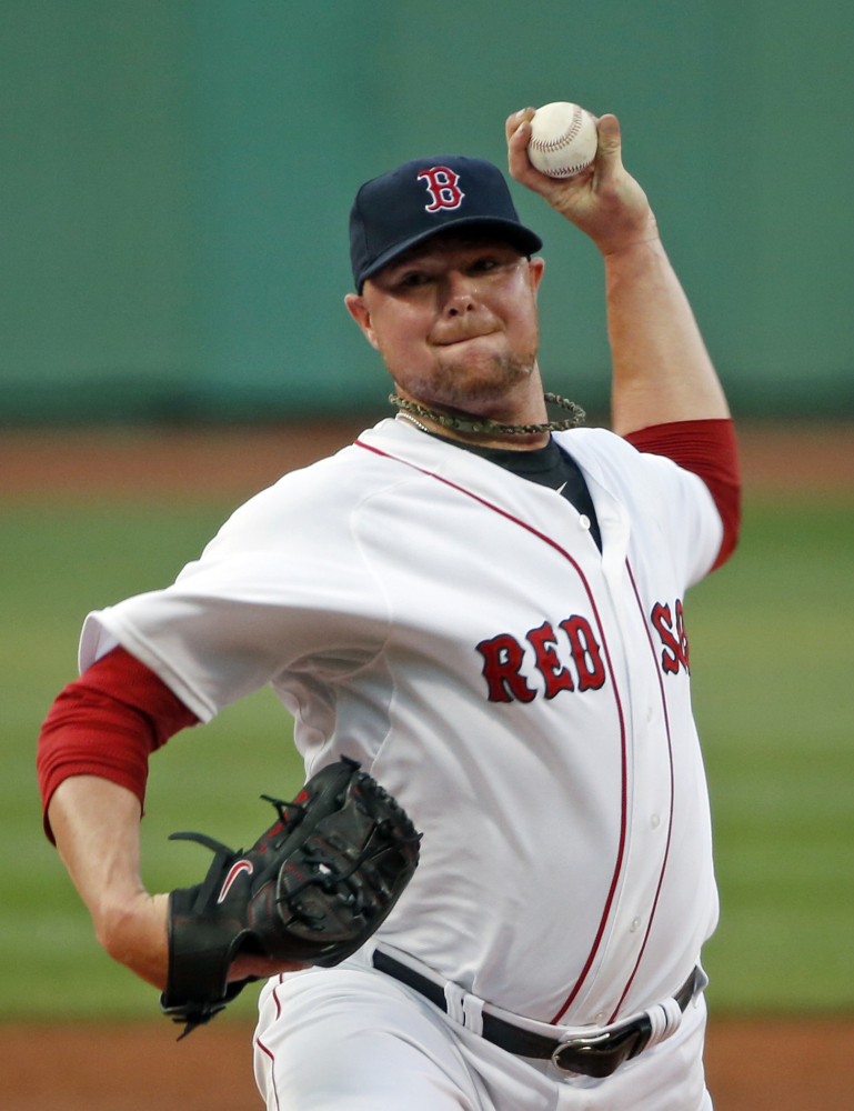 Boston Red Sox starting pitcher Jon Lester throws one in against the Minnesota Twins in the first inning of a baseball game at Fenway Park in Boston, Tuesday, June 17, 2014.