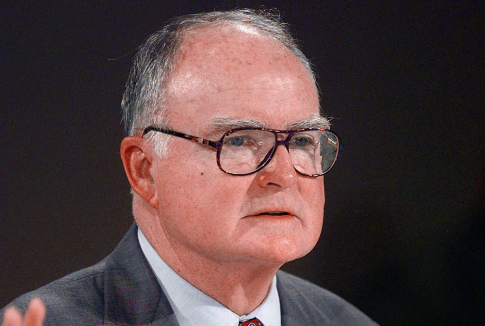 This July 28, 1997 file photo shows William Ruckelshaus, the first EPA administrator under President Nixon and who also served under President Ronald Reagan, speaking in Las Vegas. Top environmental regulators for four Republican presidents told Congress on Wednesday what many Republican lawmakers won't: Action is needed on global warming.