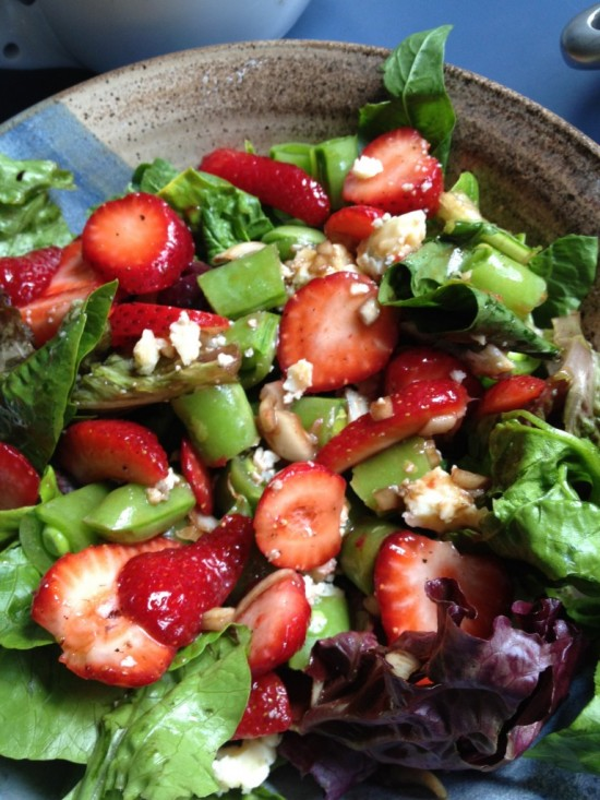 Strawberry salad with snap peas, fennel, chevre, and balsamic vinaigrette