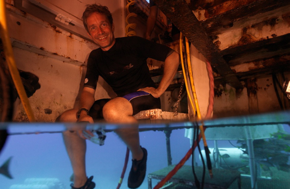 Fabien Cousteau sits inside Aquarius Reef Base in the Florida Keys National Marine Sanctuary in 2012. He plans to document and share via social media 31 days of undersea living and science experiments. The Associated Press