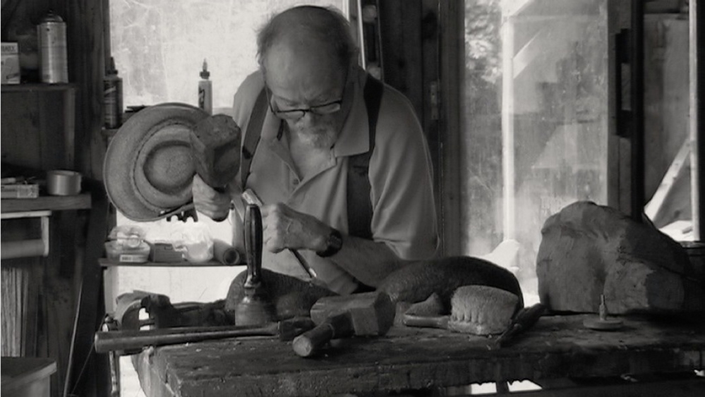 Cabot Lyford works with mallet and chisel in this undated photo. Courtesy photo