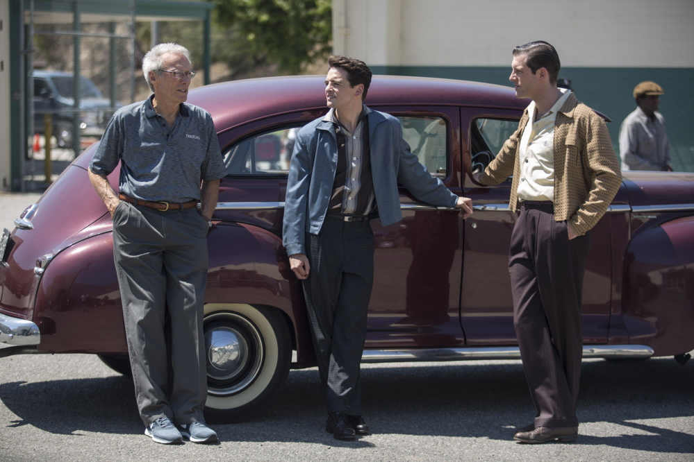 """Clint Eastwood, Vincent Piazza and Michael Lomenda on the set of """"Jersey Boys."""" Warner Bros."""