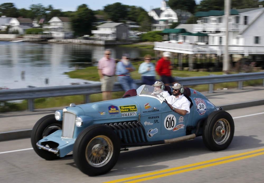 Joe Reinan of Otter Tail County, Minn., drives an Auburn Speedster Special along with his navigator, Chris Brungardt of West Fargo, N.D., in the Hemmings Motor News Great Race.