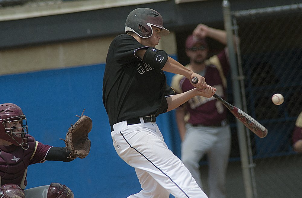Greely pinch-hitter William Bryant singles in the sixth inning Saturday. He later scored the game's only run as Greely topped Caribou 1-0.