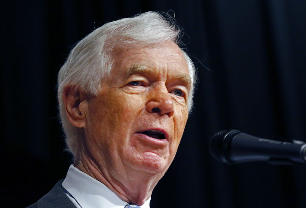 Republican Sen. Thad Cochran addresses a reelection rally on his behalf at the Mississippi War Memorial in Jackson, Miss., Monday, June 23, 2014. Cochran faces state Sen. Chris McDaniel, R-Ellisville, Tuesday in a runoff for the GOP nomination for senate.
