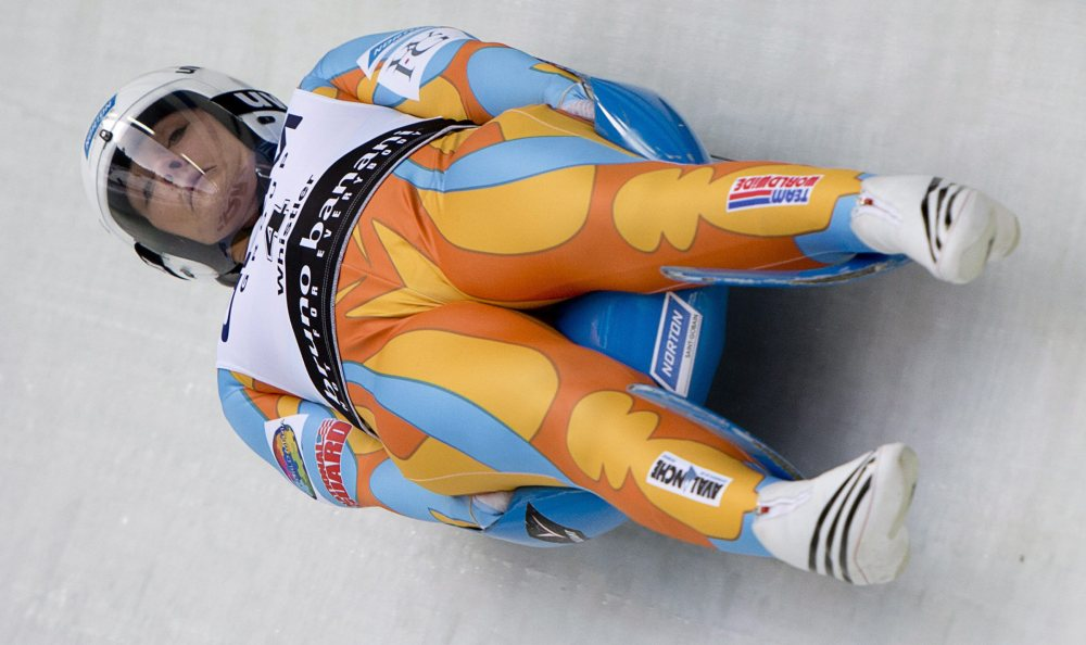 Julia Clukey competes in the women's luge at the World Championships last year in Whistler, British Columbia. The Associated Press