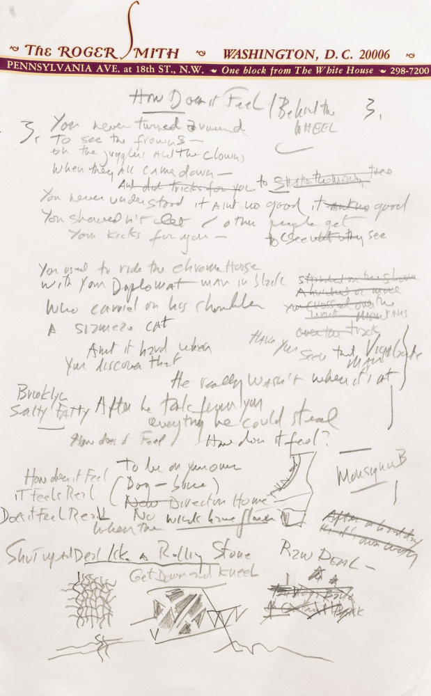 "This undated file photo provided by Sotheby's shows a page from a working draft of Bob Dylan's ""Like a Rolling Stone,"" Sotheby's says it is ""the only known surviving draft of the final lyrics for this transformative rock anthem."""