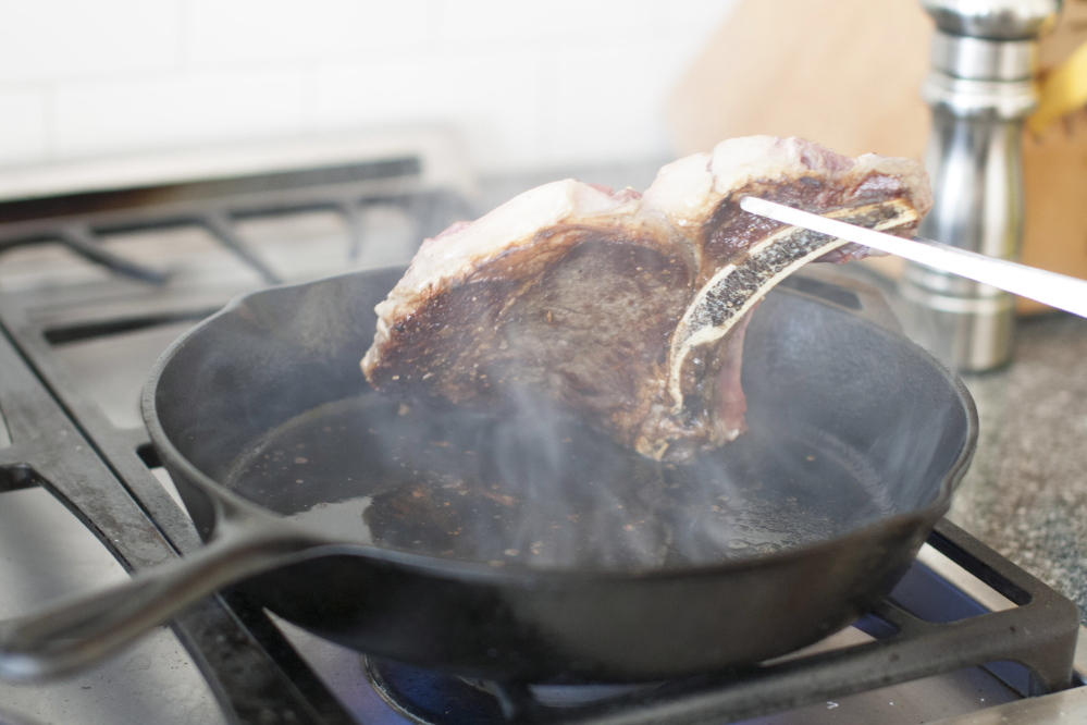 When pan-searing a steak, certain small steps – heating the pan properly, patting the meat dry before putting it in the pan – help ensure success.
