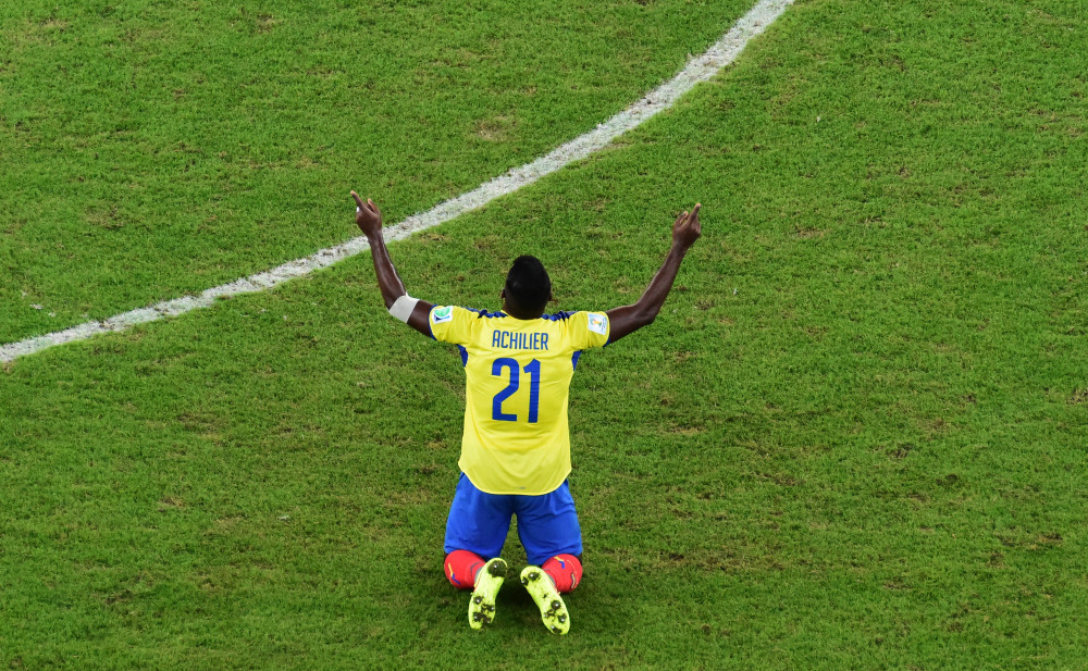 Ecuador's Gabriel Achilier gestures after the group E World Cup soccer match between Ecuador and France at the Maracana Stadium in Rio de Janeiro, Brazil, on Wednesday.