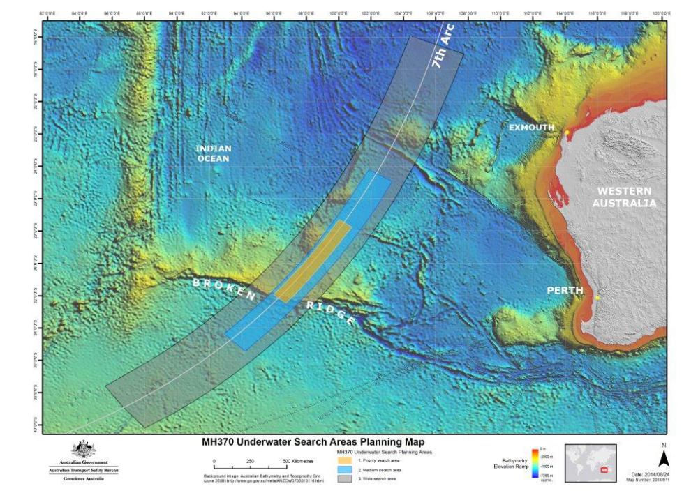 In this map provided on Thursday, June 26, 2014, by the Joint Agency Coordination Centre, details are presented in the search for the missing Malaysia Airlines Flight 370 in the southern Indian Ocean. AP