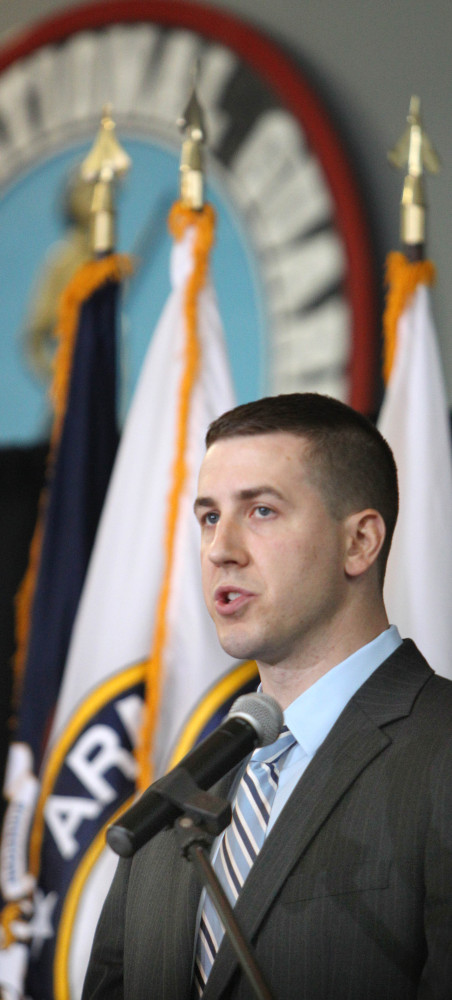 Ryan Pitts of Nashua, N.H., talks Thursday about his service in Afghanistan. Pitts will be awarded the Medal of Honor next month.