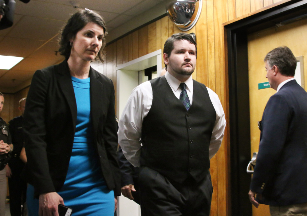 Defendent Seth Mazzaglia enters the courtroom with defense attorney Melissa Davis on Friday in Strafford County Superior Court in Dover, N.H.