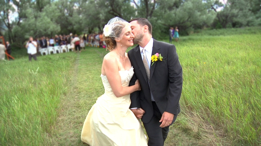 "Heather and Sam Dodge on their wedding day in Helena, Mont., from the documentary ""112 Weddings,"" debuting Monday on HBO."
