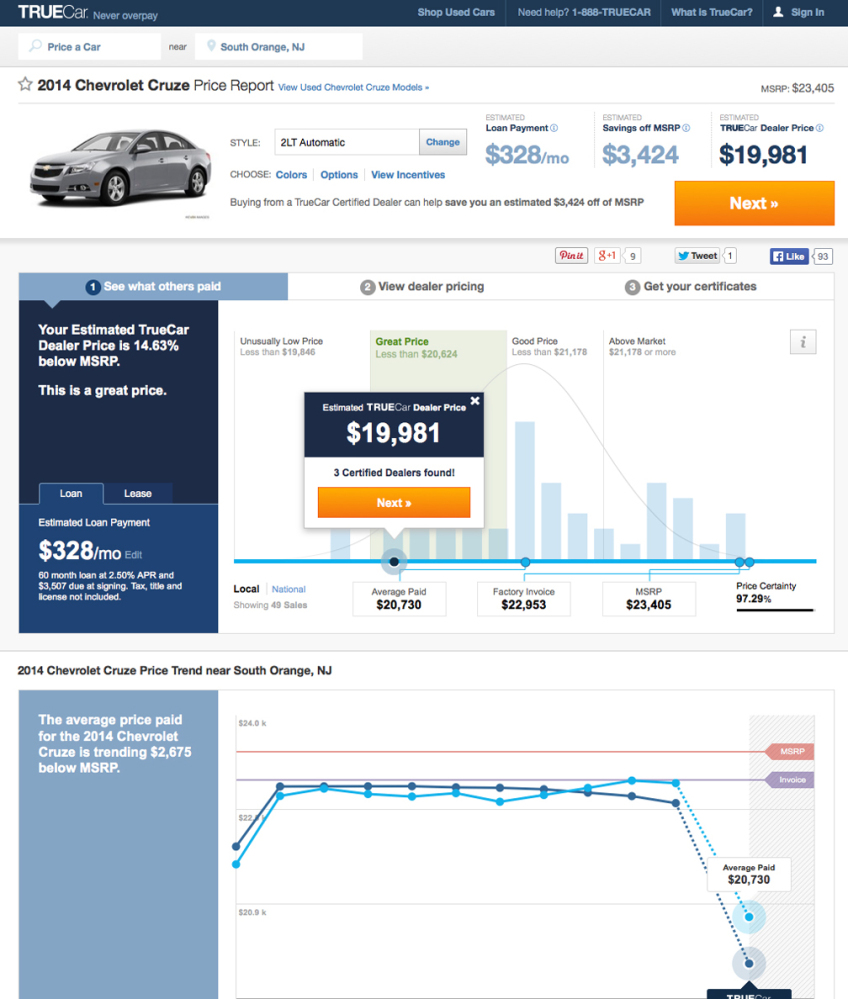 This screen shot shows a TrueCar Price Report for a 2014 Chevrolet Cruze in the South Orange, N.J. area. Auto Web sites _ once filled mostly with reviews and advice _ are getting more sophisticated, connecting potential buyers with dealers and offering instant price guarantees.