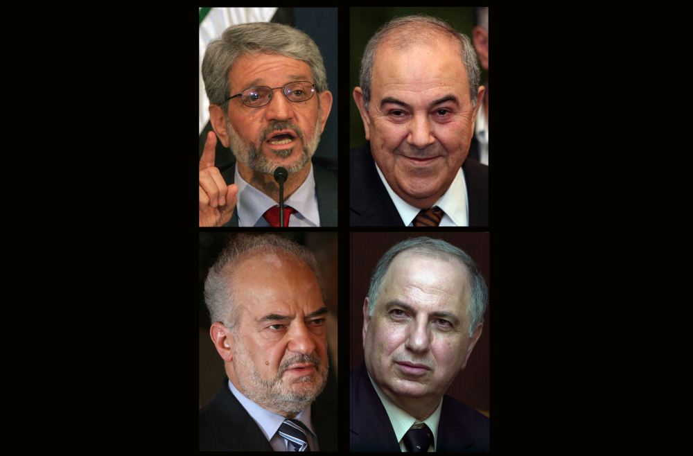 This combination of four file photos shows Iraqi politicians clockwise from top left: Bayan Jabr, Ayad Allawi, Ahmad Chalabi, Ibrahim al-Jaafari. Iraqi Prime Minister Nouri al-Maliki is under increasing political pressure to step aside.