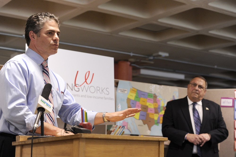 PORTLAND, ME - JUNE 27: Ethan Strimling, CEO of Learning Works, announces the allocation of federal money for education with Gov. Paul LePage at Reiche School on Friday, June 27, 2014. (Photo by Logan Werlinger/Staff Photographer)