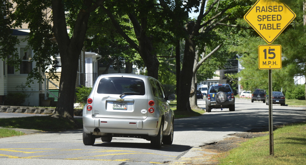 Portland plans to install 38 speed humps, like this one, to slow traffic taking short cuts between Congress Street and Brighton Avenue through the Libbytown and Rosemont neighborhoods.